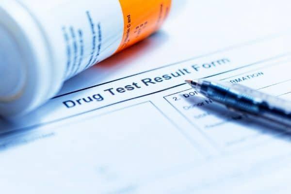 A drug test results form